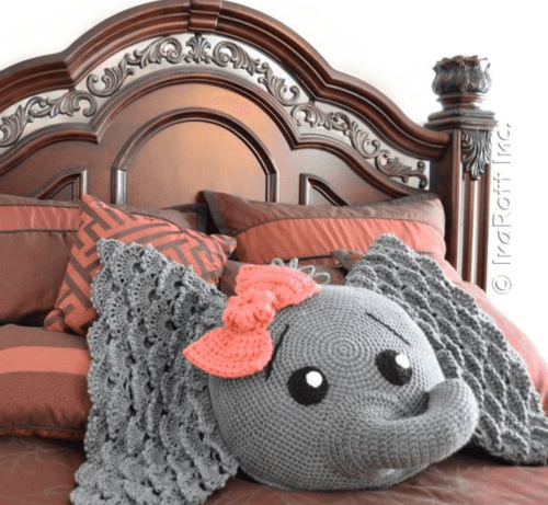 crochet elephant pillow