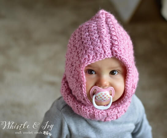 Crochet Baby Hooded Cowl Pattern by Whistle And Ivy