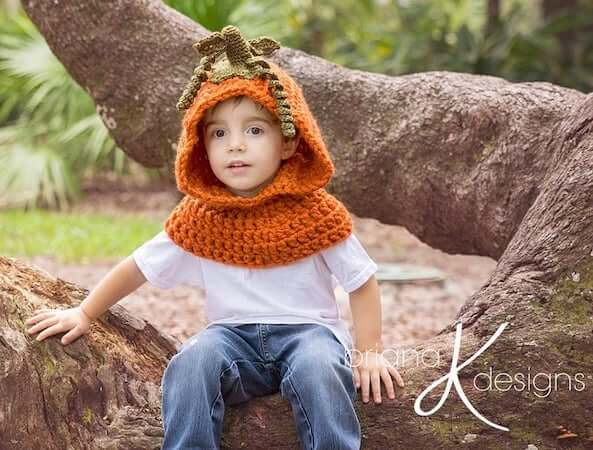 Pumpkin Hooded Crochet Cowl Pattern by Briana K Designs