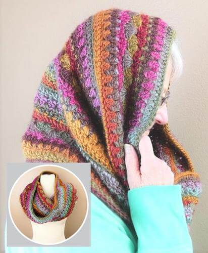 Self Striping Hooded Cowl Crochet Pattern by Made With A Twist