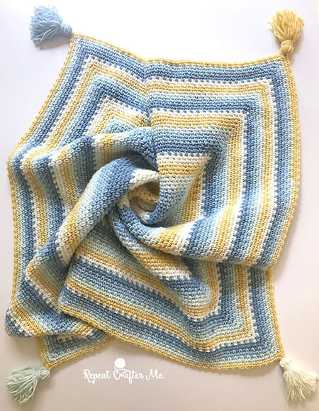 Moss Stitch in Square Blanket
