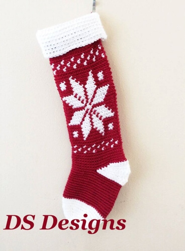 18-Snowflake-Christmas-Stocking-Pattern-DS-Designs-Handmade