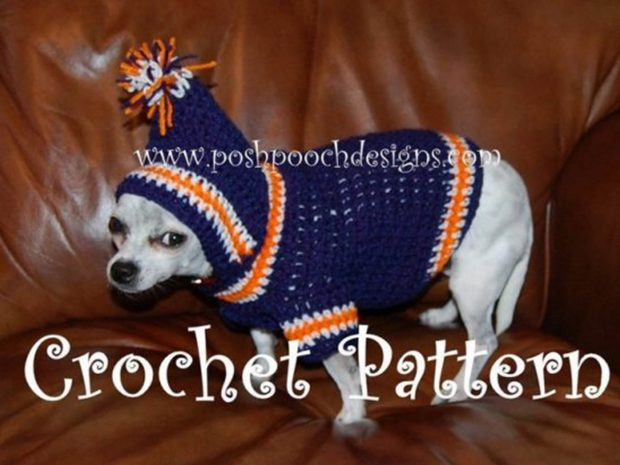 CROCHET PATTERN - SPORTS TEAM DOG HOODIE PATTERN - SMALL DOG HOODY 2-20 LBS
