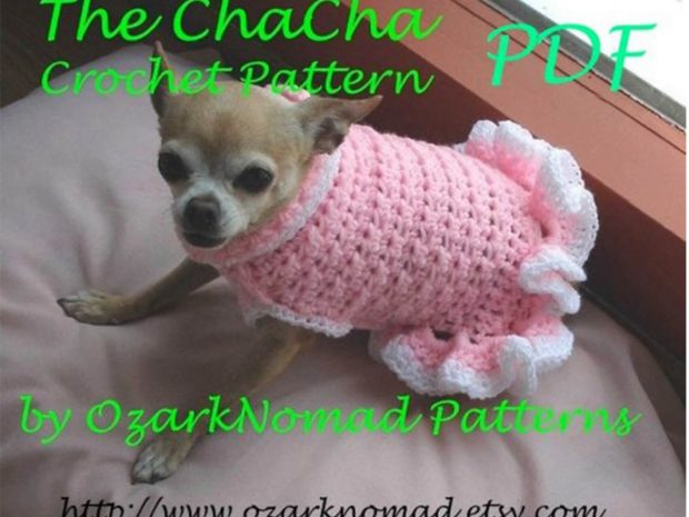 CHA-CHA- CROCHET SMALL DOG SWEATER PATTERN BY  OZARKNOMAD