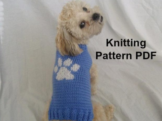 CROCHET DOG SWEATER KNITTING PATTERN WITH PAW PRINT BY INSPIRED BY MOCHA