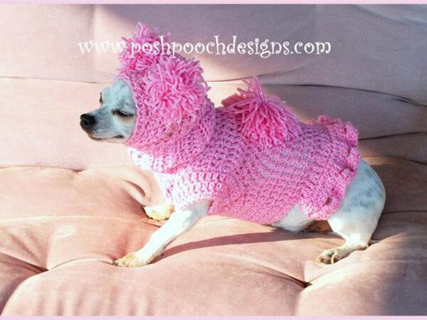 CROCHET DOG SWEATER PATTERN BUNDLE - PINK POM POM DOG SNOOD AND SWEATER SET
