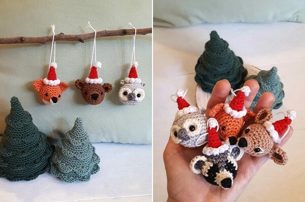 Christmas Animals Tree Ornaments Crochet Pattern