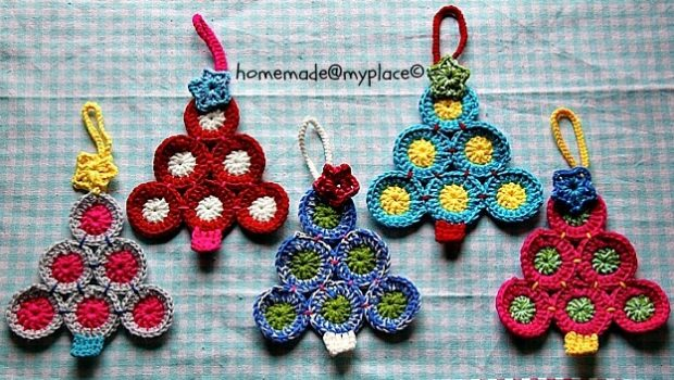Colorful Crochet Christmas Tree Decorations