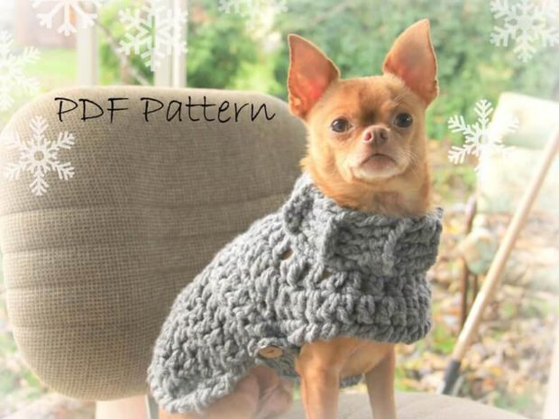 PATTERN CROCHET DOG SWEATER , CHUNKY, COZY, EASY