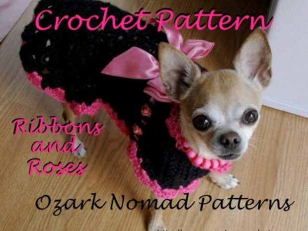 RIBBONS AND ROSES - CROCHET SMALL DOG SWEATER PATTERN - CHIHUAHUA - MINPIN - YORKIE - BEAGLE - CHIWEENIE