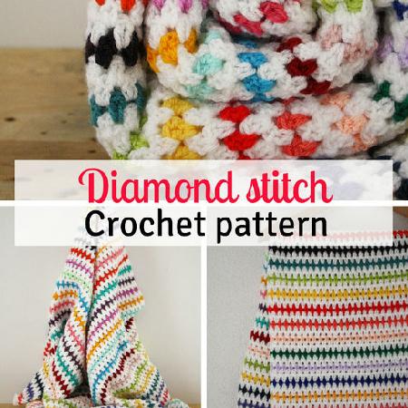 Diamond Stitch Blanket Crochet Pattern by Happy in Red