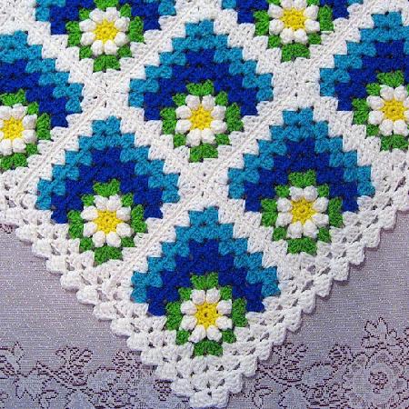 Mitered Summer Daisy Baby Crochet Blanket Pattern by Ravelry