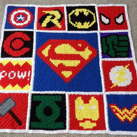 Superhero Crochet Blanket Pattern by ACSCrochetShop