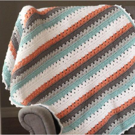 Daisy Stripes Cottage Blanket Crochet Patterns by DaisyCottageDesigns