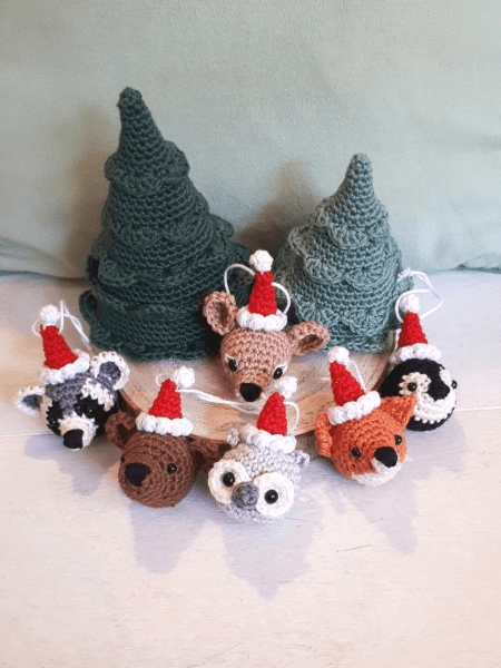 Animal Crochet Christmas Ornament Pattern by Birds and Crickets