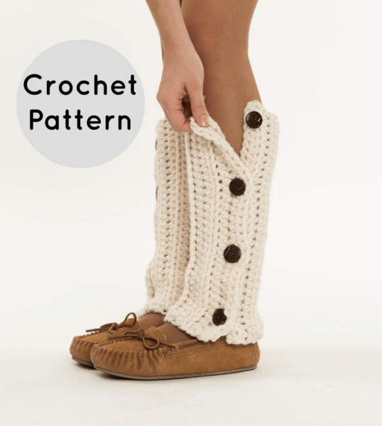 Button Up Chunky Crochet Leg Warmers Pattern by Brenna Ann Handmade