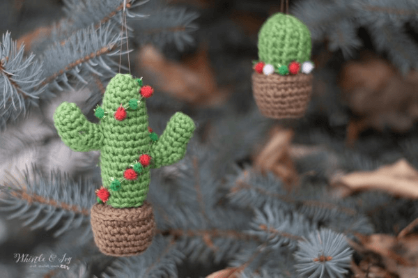 Cactus Crochet Christmas Ornament Pattern by Whistle and Ivy