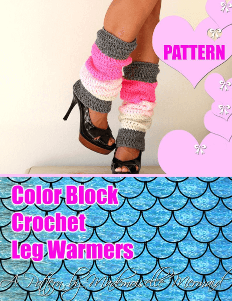 Color Block Crochet Leg Warmers Pattern by Mademoiselle Mermaid