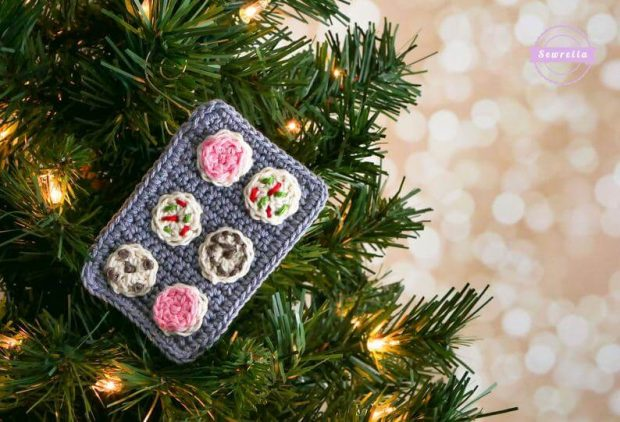 Cookie Tray Crochet Christmas Ornament Pattern by Sewrella