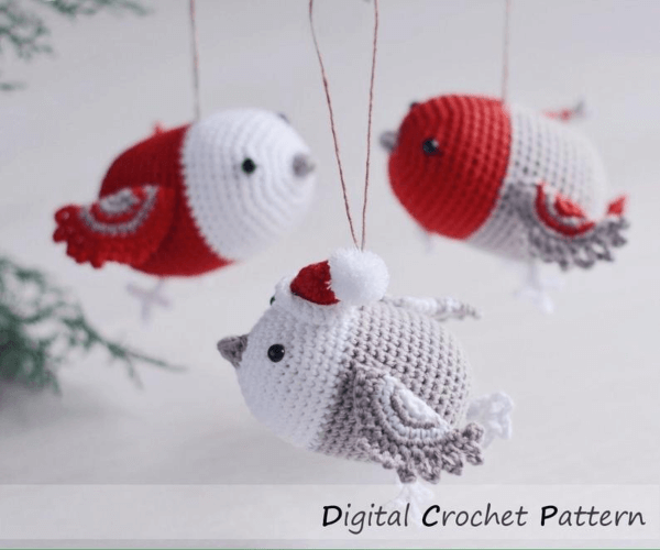Cute Bird Crochet Christmas Ornament Pattern by Firefly Crochets