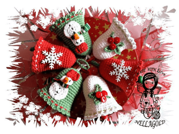 Decorated Bells Crochet Christmas Pattern by Nellagolds Crocheting