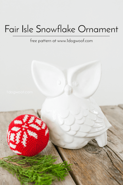 Fair Isle Snowflake Crochet Christmas Ornament Pattern by One Dog Woof