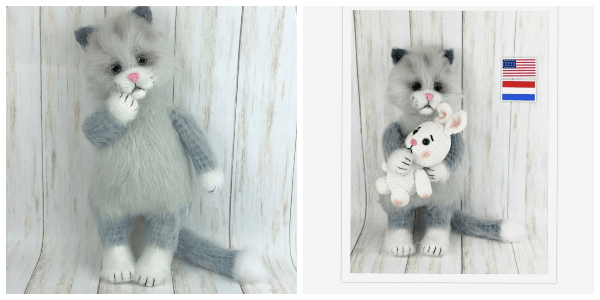 Furry Crochet Cat Pattern with Toy Bunny by Ambercraftstore