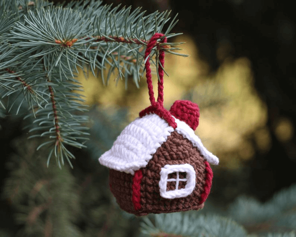 Gingerbread House Crochet Christmas Ornament Pattern by Frants Toys