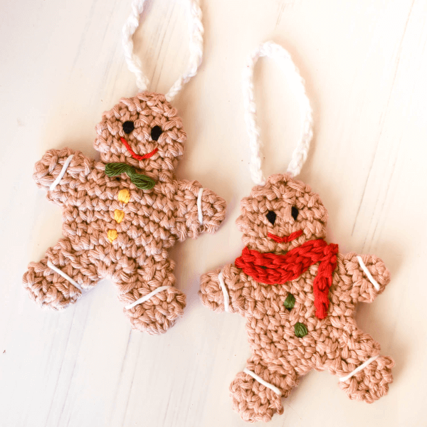 Gingerbread Man Crochet Christmas Ornament Pattern by Wildernest Knits