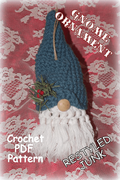 Gnome Crochet Christmas Ornament Pattern by Restyled Junk