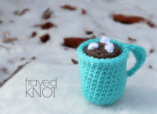 Hot Cocoa Mug Crochet Christmas Ornament Pattern by Frayed Knot