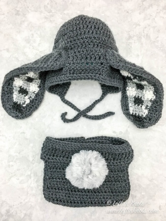 Left in Knots free and adorable bunny crochet diaper cover with a tail and bonnet with bunny ears