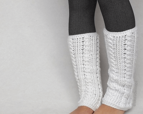 Lennon Cable Crochet Leg Warmers Pattern by Lakeside Loops