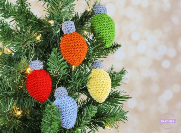 Light Bulb Crochet Christmas Ornament Pattern by Sewrella