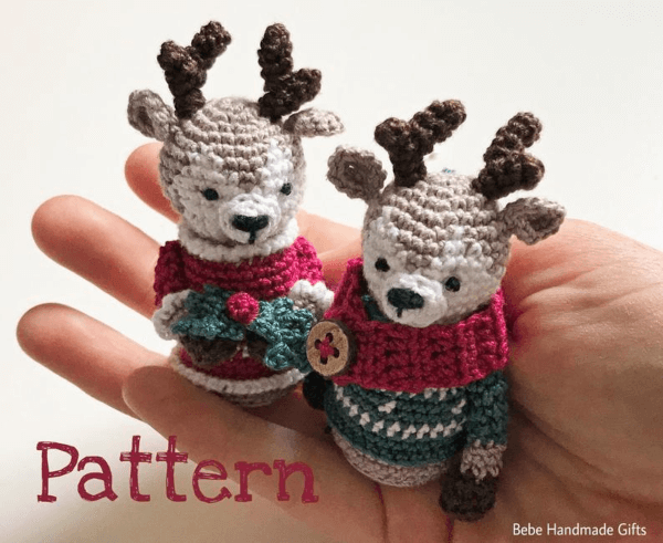 Little Reindeer Crochet Christmas Ornament Pattern by Bebe Handmade GIfts GB