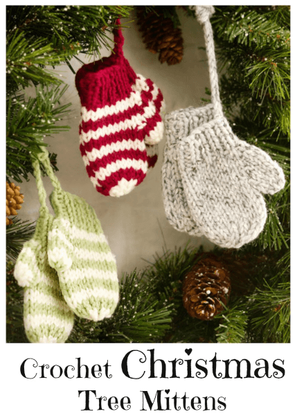Mitten Crochet Christmas Tree Ornament Pattern by Red Heart