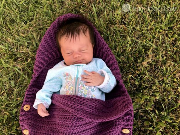 Newborn Sleep Sack Crochet Baby Pattern Closeup