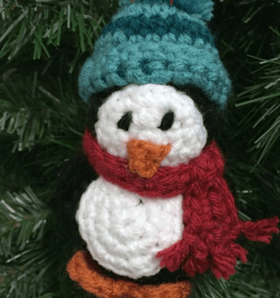 Penguin Crochet Christmas Ornament Pattern by 5 Little Monsters