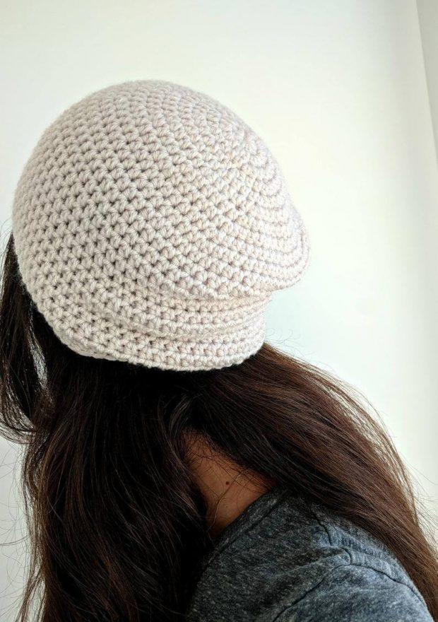 Simple Crochet Beanie Pattern Back View