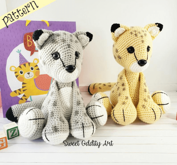 Snow Leopard and Cheetah Crochet Cat Pattern by SweetOddityArt