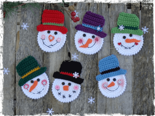 Snowmen Crochet Christmas Ornament Pattern by Country Life is Best