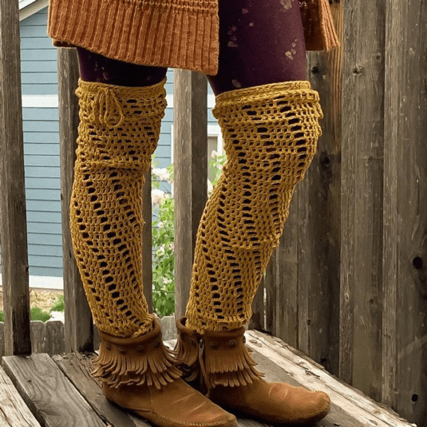 Spiral Over the Knee Crochet Leg Warmers Pattern by Of Mars