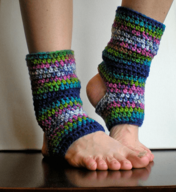 Yoga Sock Crochet Leg Warmers Pattern by Swell Amy