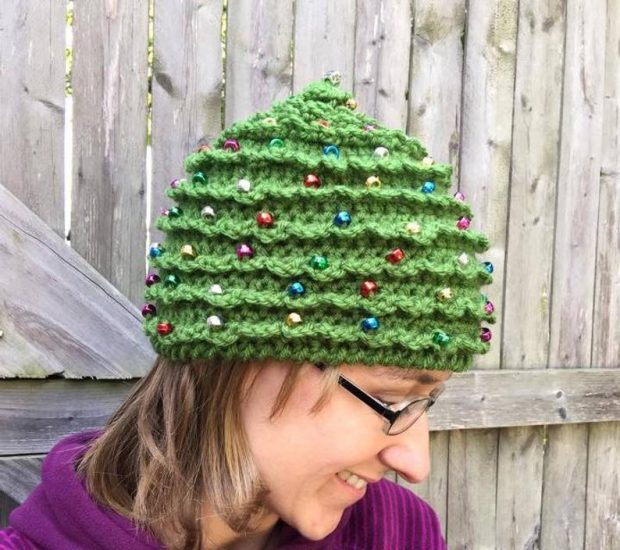 adult Christmas tree crochet hat pattern