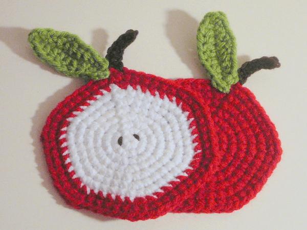 Apple Coasters Crochet Pattern by HGS Designs