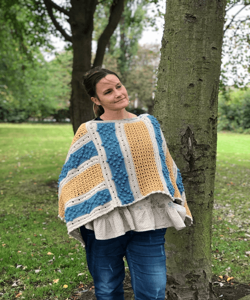 Autumn Rain Crochet Poncho Pattern by Loopy Mabel