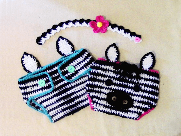 Baby Zebra Diaper Cover And Headband Crochet Pattern by Cathyren Designs