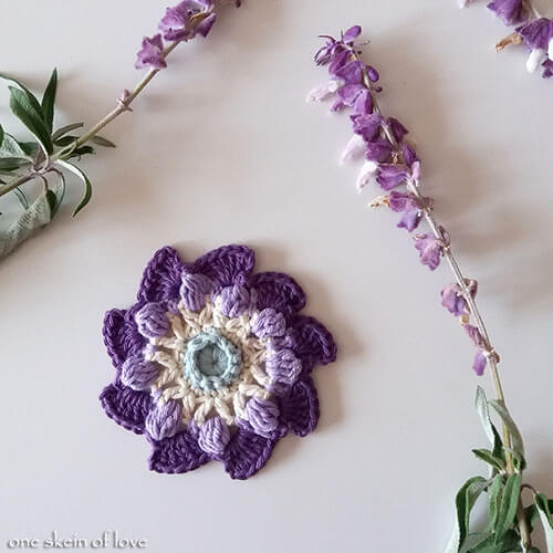Free Blooming Pinwheel Crochet Flower Pattern Purple Flower