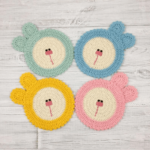 Bunny Coasters Crochet Pattern by Tikva Patterns