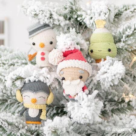 christmas tree santa claus snowman penguin crochet amigurumi